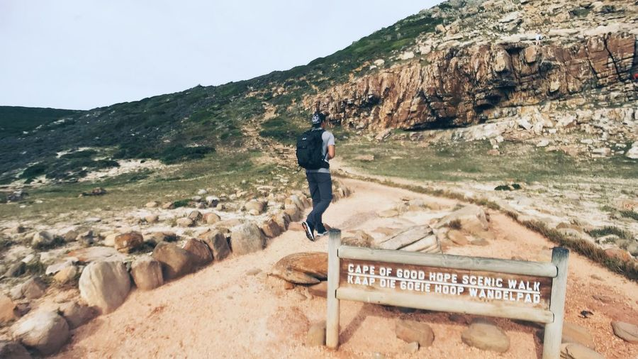 Journey Asain Nature_collection Travelling Travel Destinations Tourist Walking Cape Point Cape Town Trekking Mountain One Person Real People Lifestyles Text Leisure Activity Day