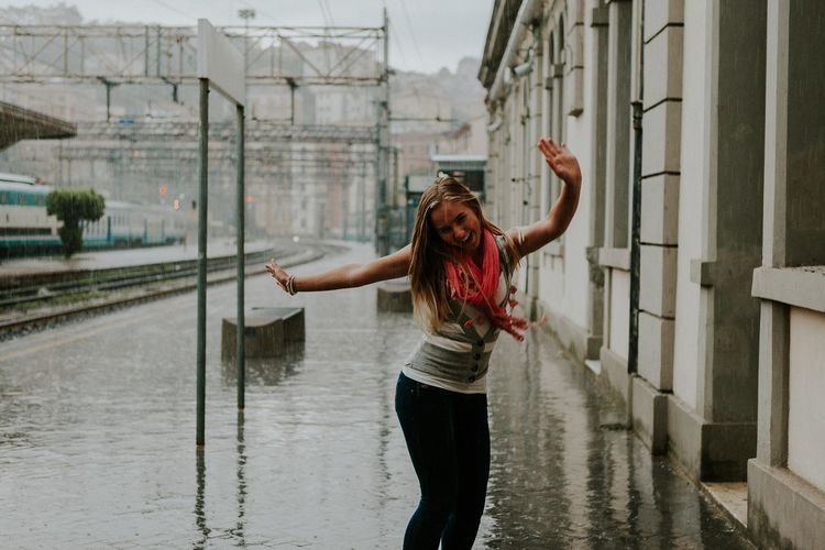 Ann Ilagan Photography Blonde Dancing Around The World Dancing Girl Dancing In The Rain Europe Trip Feel The Journey Italy La Spezia Long Hair Movement Rain She Is Not Lost Train Station Traveling Wanderlust An Eye For Travel