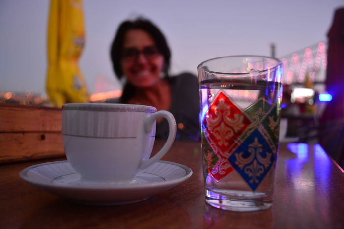 Time for the important things in life... Arrangement Beverage Bokeh Bokeh Photography Close-up Coffee Coffee And Water Coffee Time Cup Drink Evening Evening Sky Focus On Foreground Glass Kahve Kahve Keyfi Lights Preparation  Refreshment Table Türk Kahvesi Water