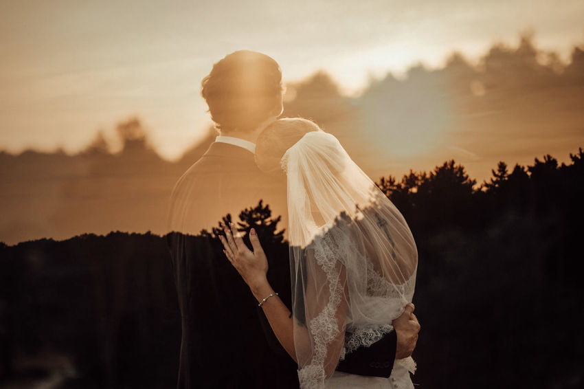 """Wander into me and forget the way you came. You are home with me."" 🌿 Couple Double Exposure Sunset Wedding"