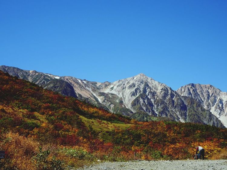 Mountain Mountain Range Scenics Fall Fall Beauty Fall Colors Autumn Nature Beauty In Nature Landscape Outdoors Day Sky One Person From My Point Of View 白馬 Hakuba Nagano, Japan