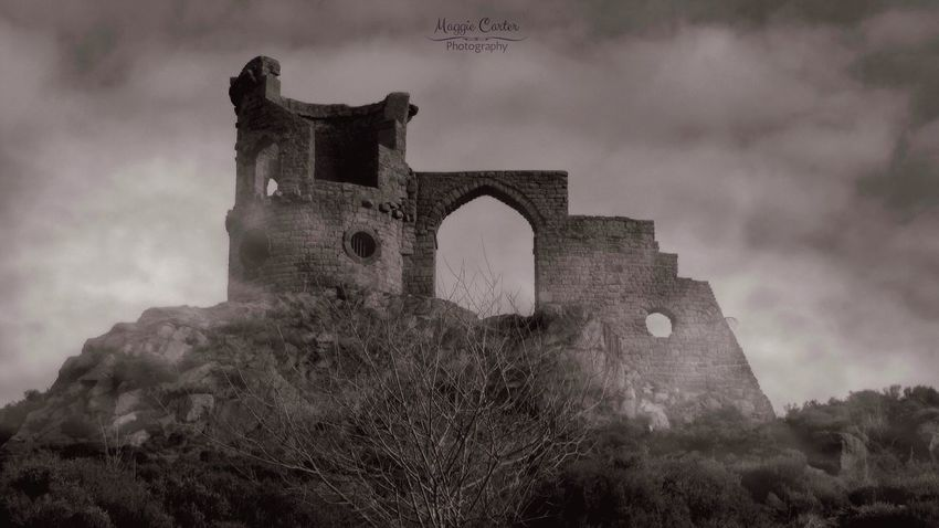 Castle Tower Folly, at Mow Cop, Staffordshire, UK. Blackandwhite Mysterious Toweringabove Cloud - Sky Mystical Atmosphere Mist Haunting  Folly Historical Buildings Architecture History Arch Built Structure Low Angle View Day No People