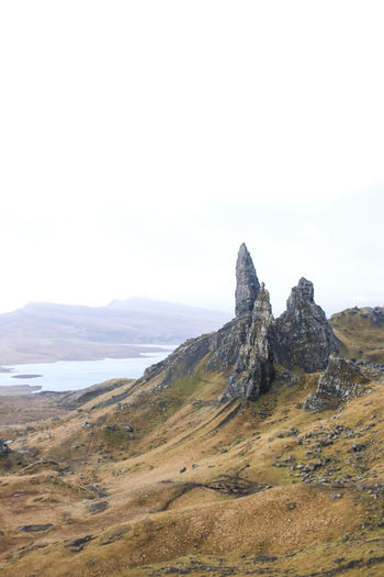STORR Beauty In Nature Day IA IPhone Landcape Landscape Mountain Nature No People Ocean One Person Outdoors RockClimbing Scenics Scotland Sky Sky And Clouds Skye Tranquil Scene Tranquility Yellow