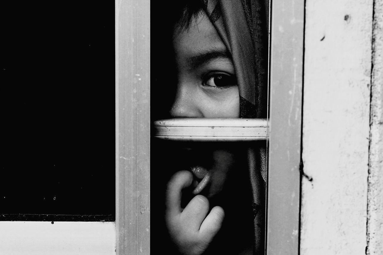 window, door, childhood, one person, indoors