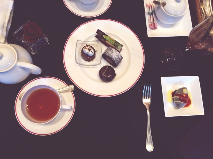 IPhoneography Food And Drink Plate Table Freshness Ready-to-eat Directly Above Refreshment Drink Serving Size Drinking Glass Coffee - Drink Food High Angle View Indoors  Tea - Hot Drink Healthy Eating No People Close-up Day Sweet Cake St.Regis The Black Black