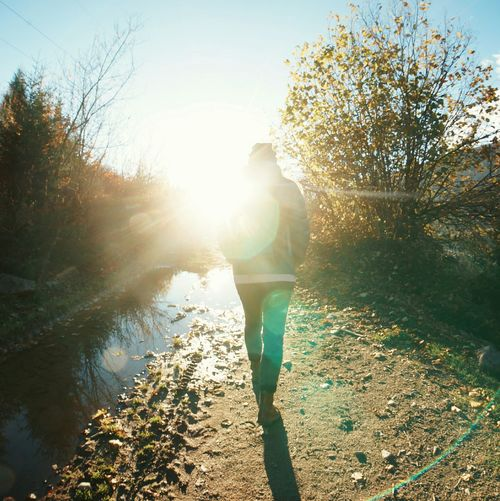 Walk Into The Light Lens Flare Autumn Hiking Girl Mestia Georgia The Following Dramatic Angles Finding New Frontiers The City Light