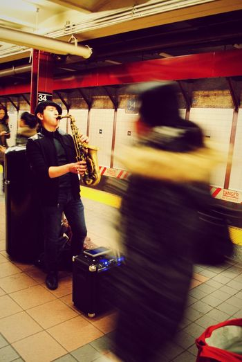 Musicians Musician Music Pennstation NYC USA EyeEmNewHere Mode Of Transportation People Transportation Real People Occupation Full Length Train Standing Men Adult Train - Vehicle Travel Public Transportation Motion Two People Blurred Motion Land Vehicle Rail Transportation Incidental People