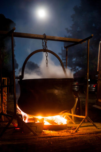 Burning Fire - Natural Phenomenon Fire Pit Flame Heat - Temperature Kettle Magic Moon Moonlight Night Panoramix Steam