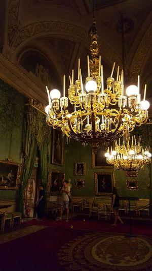 Italia Italy Florence Firenze Palazzo Pitti Museum Green Chandelier Lighting Equipment Ornate Illuminated Hanging Architecture Indoors