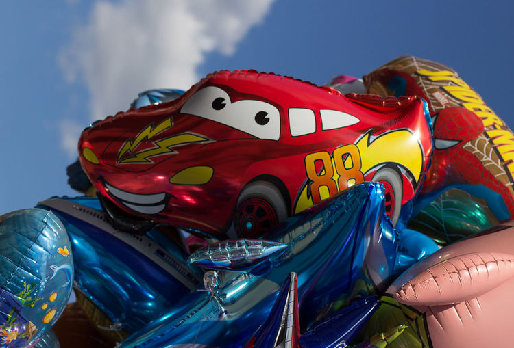 Ballons Ballons In The Sky Cars Day Lightning Mcqueen Low Angle View Multi Colored No People Outdoors Racecar Sky