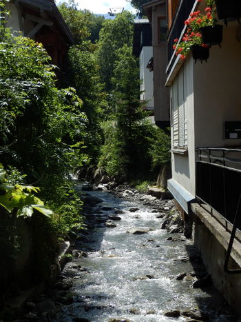 Water Architecture Building Exterior Built Structure Outdoors No People Day Swimming Pool Tree France Megeve Chalet Mountain Mountain Stream, Mountain Creek