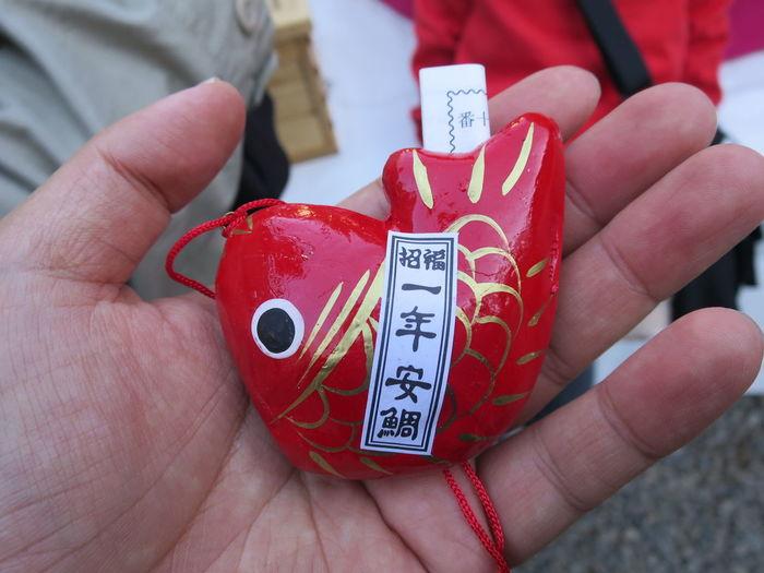 「一年安鯛」と「あい鯛」 語呂合わせが絶妙ですね~ おみくじ 氷川神社 鯛