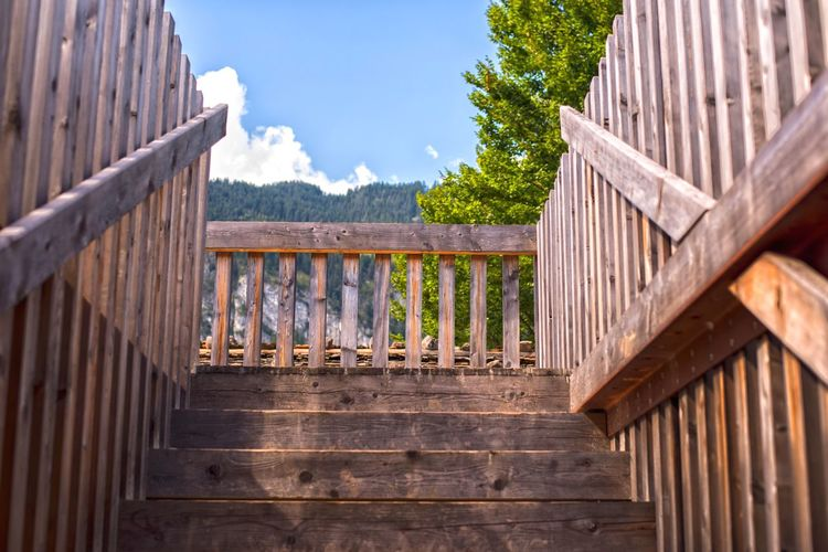 EyeEm Selects Railing Steps Steps And Staircases Wood - Material Mountain Stairs Built Structure Wood Top Climbing Terrace Up Depth Symmetry Nikond750 Nikon Full Frame Balcony Nature Natural No People Move Photography Colourful