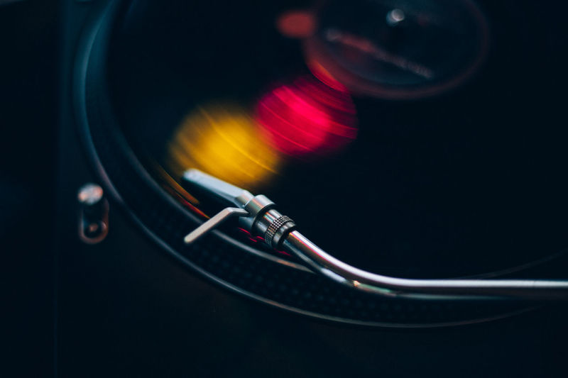 Close-up of record playing on turntable