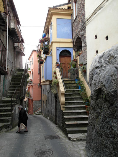 Glimpse of the historic center of Verbicaro Italia Old Town Architecture Building Exterior Built Structure Calabria City Full Length Glimpse Men Outdoors People Real People Staircase Steps Steps And Staircases Travel Destination Verbicaro