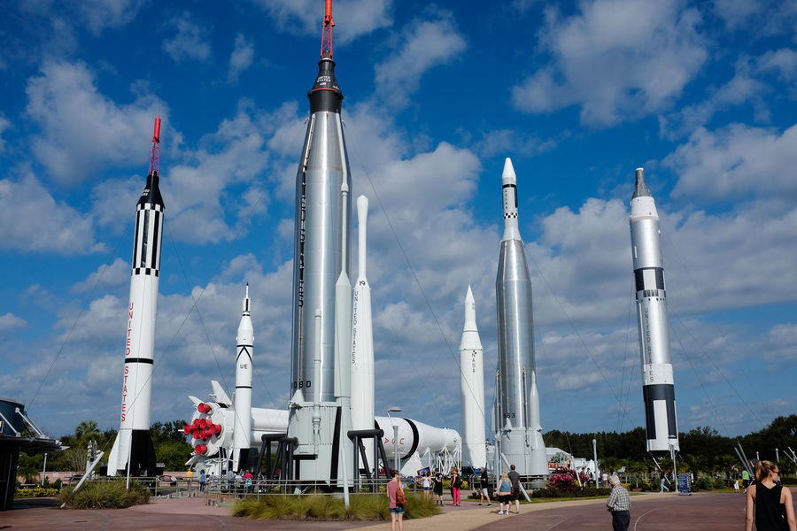 Rockets in the Rocket Garden at Kennedy Space Centre in Florida Kennedy Space Center  Rocket Rockets Space Travel Architecture Cloud - Sky Day Florida No People Nose Cone Outdoors Rocket Garden Sky Space Travel Vehicle