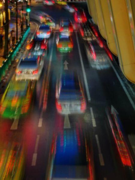 Night Multi Colored City Cityscape Outdoors Traffic Car Nightlight Nightlife