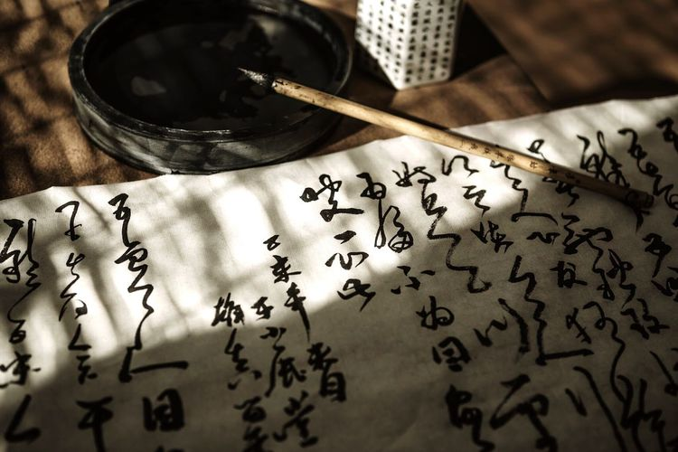 Chinese calligraphy working space Chinese Calligraphy Workspace Paper Script Paintbrush Writing Letter Sign Handwriting