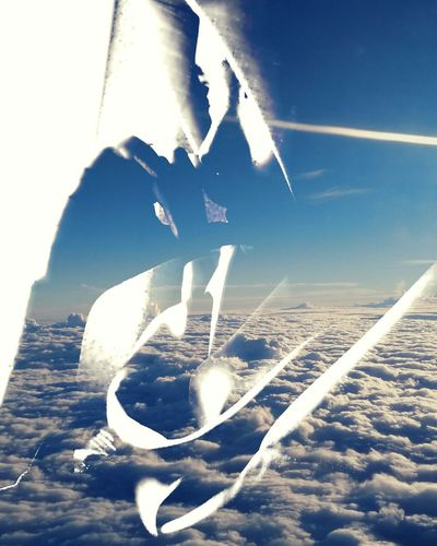 Sky And Clouds Plane Sriwijaya Airlines Double Exposure
