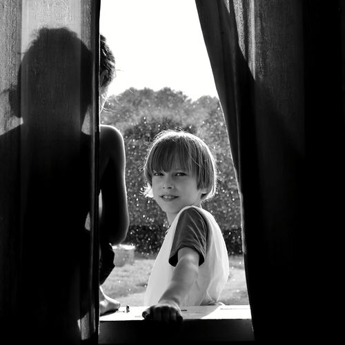 Silhouette Brothers Boys Will Be Boys Window Summer Rain Summer Rain Blackandwhite Child Childhood Boys Males  Playing Standing Blond Hair Sitting Casual Clothing Window Sill Curtain
