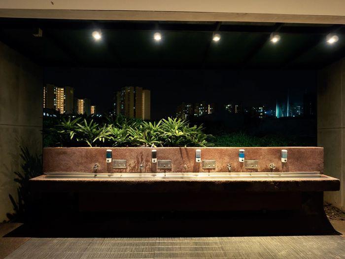 Basin Illuminated Night No People Open Air Tap Toilet