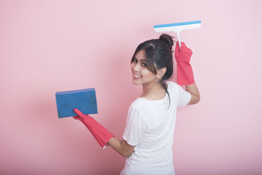 Housework Clean House One Person Pink Color Smile Young Adult