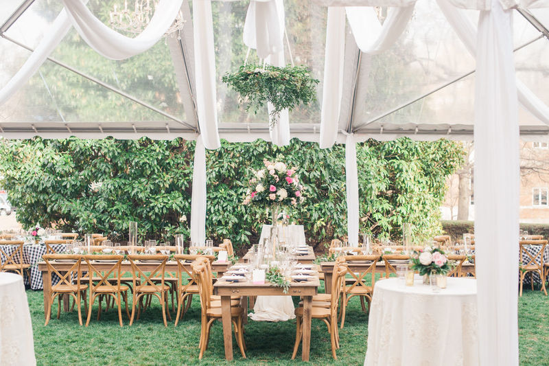 pink, white and green florals in a clear tent with hanging florals. meant for a wedding reception. Classic Reception Wedding Absence Chair Day Floral Florist Flower Growth Hanging Flowers No People Pink Color Pink Flower Plant Table Tent