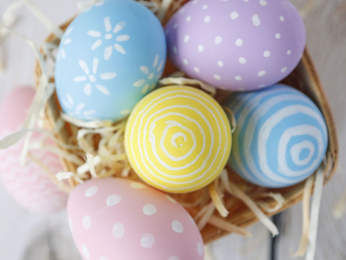 Directly Above Shot Of Easter Eggs In Basket