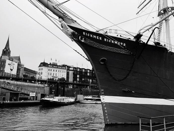Architecture Building Exterior Built Structure Transportation City Water Travel Destinations Waterfront Nautical Vessel Tourism Mode Of Transport River Sky Day City Life Outdoors Journey In Front Of No People Famous Place Ship Rickmer Rickmers Battle Of The Cities Monochrome Photography