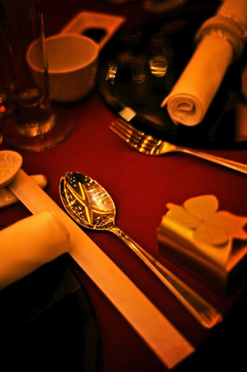 Spoon Table Setting Wedding Ambience Close-up Dark Setting Gold Colored Indoors  No People Table Wedding Dress