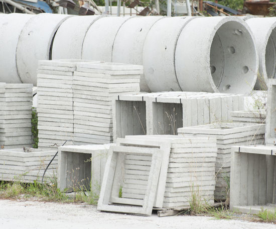 Precast concrete for the construction industry Cement Concrete Day Drainage Factory Industry Manholes Nature No People Outdoors Pipe Prefabricated Sewage Tubes Wells