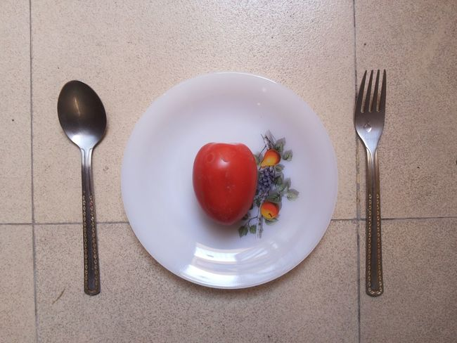 Archival Breakfast Close-up Day Directly Above Eating Utensil Food Food And Drink Fork Freshness Healthy Healthy Eating Indoors  Lifestyles No People Plate Ready-to-eat Red Spoon Still Life Table Tomato