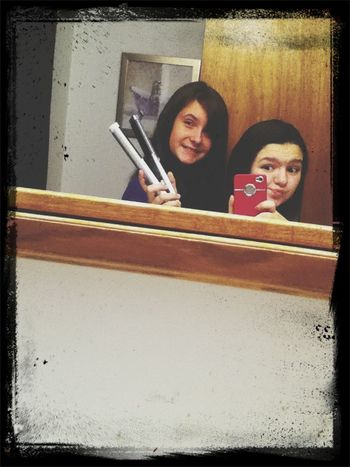 She Is Staighting My Hair ;)