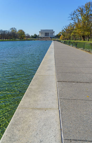 Landscapes With WhiteWall Composition Distant Empty Footpath Incidental People Jetty Leading Lincoln Memorial Narrow Outdoors Pavement Paving Stone Perspective Pier Relaxing Moments Shadow Showcase: December Sidewalk Street The Way Forward Walkway Washington, D. C. Water