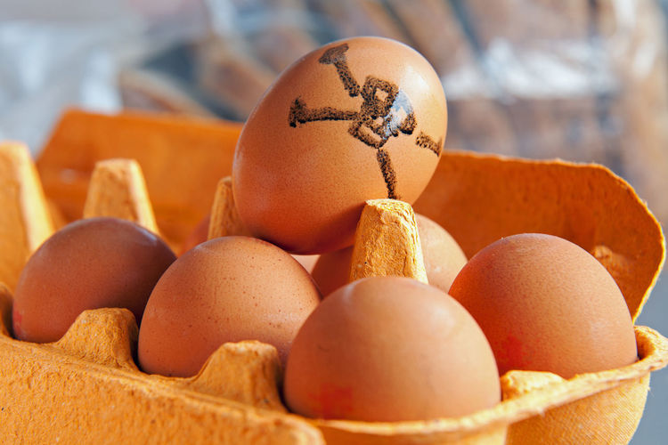 Close-Up Of Eggs In Carton During Easter