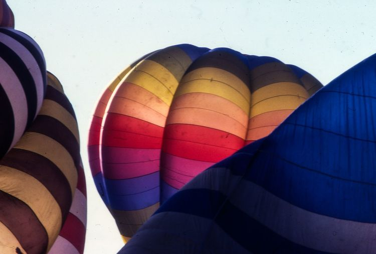 Low angle view of parachutes against clear sky