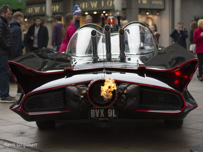 Holy smokes Batman Batman And Robin Batmobile Car From The Film Car From The Mo Car On Fire Check This Out Classic Car Close-up Collector's Car Convertible Ride Crowd Puller Display Car Eyem Best Shots Eyem Gallery Famous Car Flame Thrower Flames Holy Smokes Batman Outdoors Vehicle