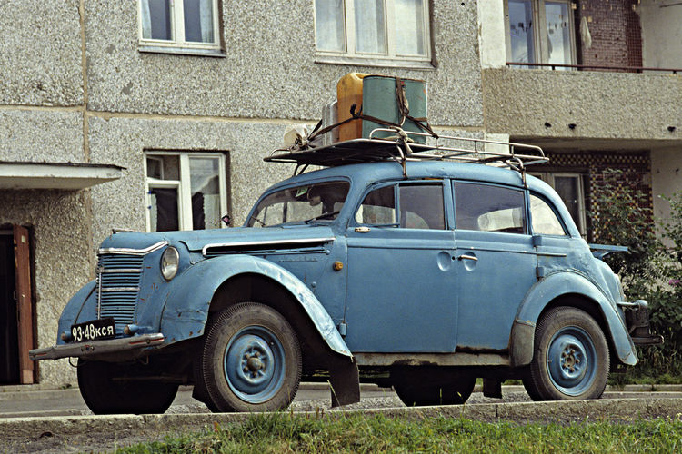 A Long Served Auto In Russland A Roof Rack A Trip Day East Karelia, Russland Moskvitsh Auto No People Old-fashioned Outdoors Ready To Go Russland Transportation