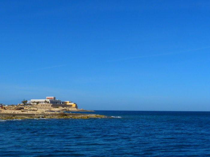 Malta Paceville St. Julian's San Giljan Mediterranean  Mediterranean Sea Sea Water Sky Blue Scenics - Nature Architecture Copy Space Built Structure Tranquility Outdoors Nature