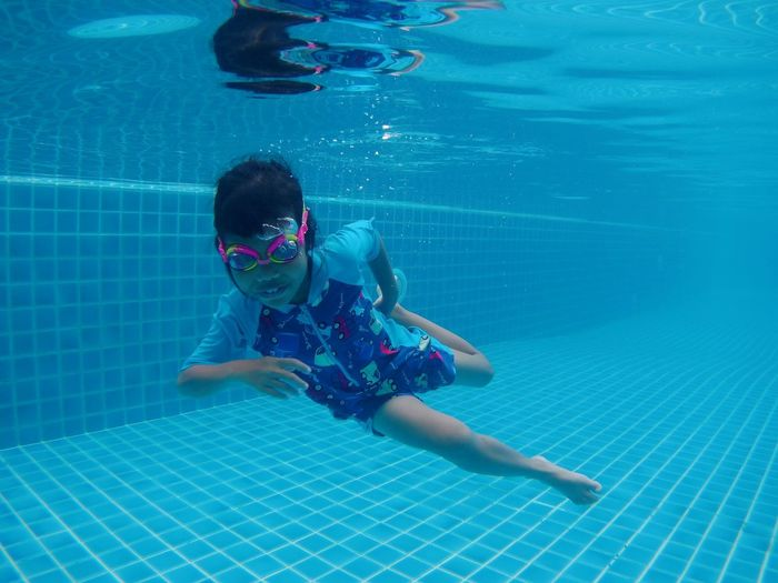 Water Swimming Child Full Length Swimming Pool Underwater UnderSea Childhood Summer Floating On Water