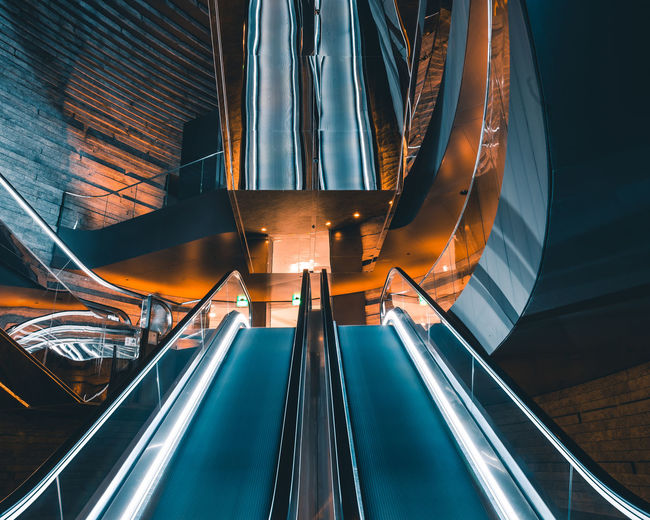 Long exposure escalator Architecture Blurred Motion Built Structure Escalator Illuminated Indoors  Long Exposure Modern Motion Speed Technology