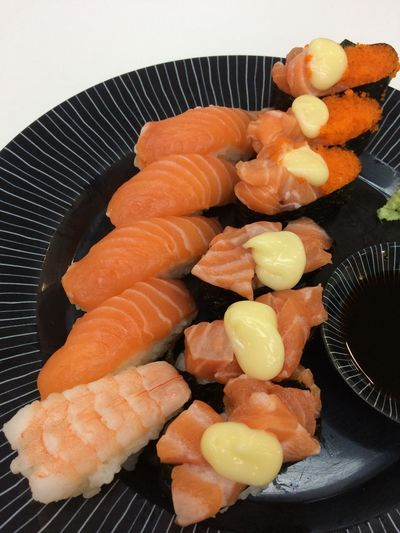 Food Food And Drink Freshness Healthy Eating Seafood Indoors  Still Life Japanese Food High Angle View Ready-to-eat Asian Food Salmon - Seafood Fish Sushi Rice Meat Preparation  Close-up No People Wellbeing