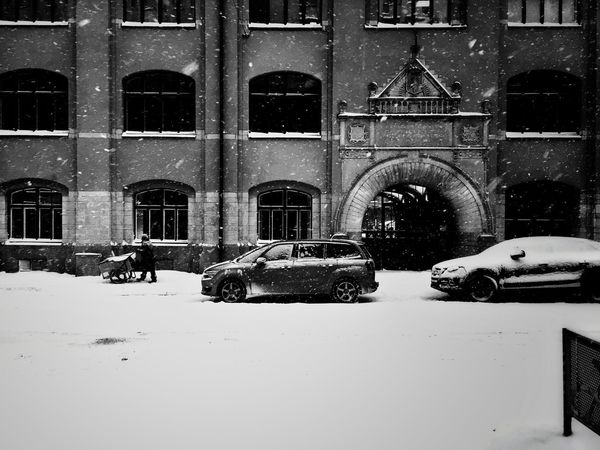 Car Land Vehicle Transportation Mode Of Transport Building Exterior Architecture Built Structure Window Stationary Outdoors Arch Winter Day City No People Snowing Snow