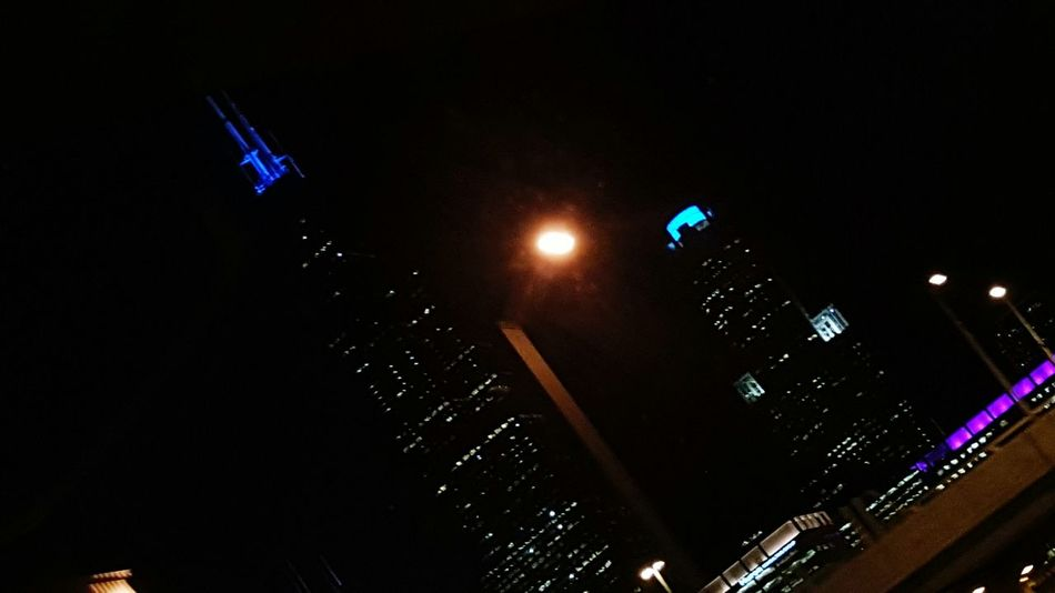 Illuminated Chicago Skyline Chicago Fromthecar