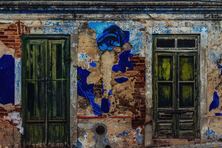 Art Is Everywhere Door Architecture Blue Day Built Structure Close-up Full Frame No People Abandoned Places Abandoned Buildings ArtWork Arts Culture And Entertainment Streetphotography Street Art Colorful Old Buildings