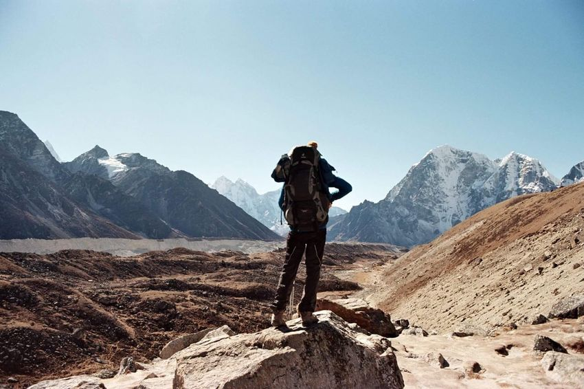 Filmisnotdead 35mm Film Analog Mountain Mountain Range Adventure Beauty In Nature Nature One Person Clear Sky Landscape Backpack Scenics Hiking Outdoors Day Standing Tranquility
