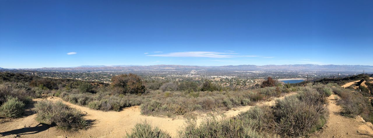 Caballero Trail Panorama Sunny Clear The Valley Los Angeles, California Trail Hiking Sky Tranquil Scene Tranquility Scenics - Nature Blue Landscape Beauty In Nature Day Outdoors