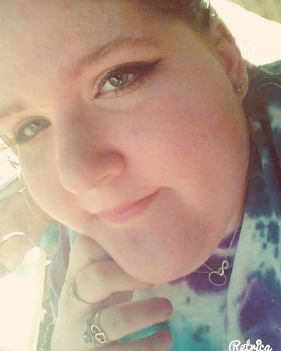 My sister did my make up Make Up Blonde_and_red_hair Hazel Eyes  Happy Smile Bored Outside Orange Pink Green Tye_dye