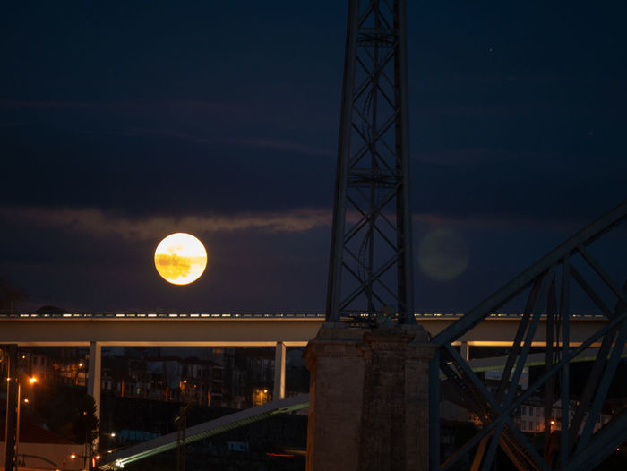 Built Structure Architecture Night Sky Illuminated Moon No People Bridge Connection Building Exterior Bridge - Man Made Structure Nature Cloud - Sky Transportation Full Moon Outdoors Dusk Space Sunset Astronomy Planetary Moon
