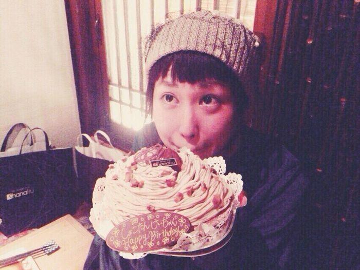 Happy B-Day💋💫 Looking At Camera Real People Happy People Birthday Cake Birthday Party Happy Time Happybirthday🎉💗🙌 モンブラン 上目遣い Big Eyes Japanese Girl Three Girls Three Boys Hiroshima,japan